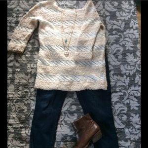 Sassy Mixed Media Tunic Sweater by Cooperative